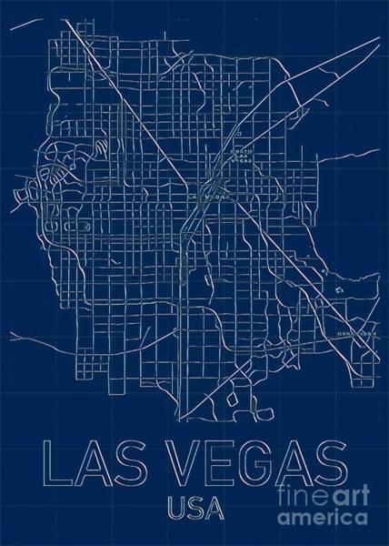 Digital Art - Las Vegas Blueprint City Map by Helge