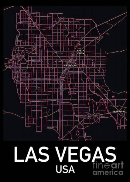Digital Art - Las Vegas City Map by Helge