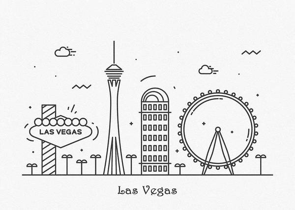 Wall Art - Drawing - Las Vegas Cityscape Travel Poster by Inspirowl Design