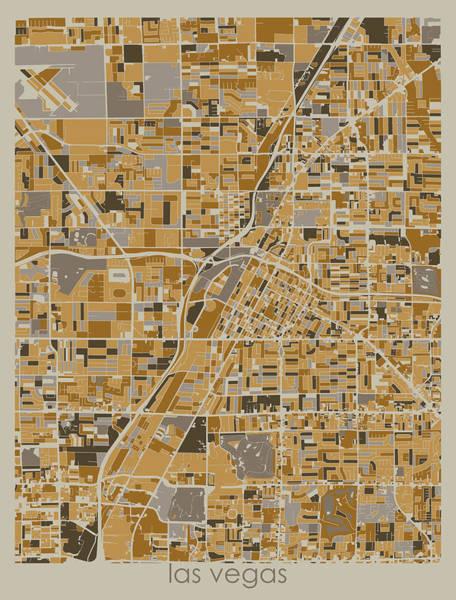 Wall Art - Digital Art - Las Vegas Map Retro 4 by Bekim M