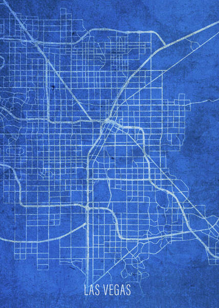 Wall Art - Mixed Media - Las Vegas Nevada City Street Map Blueprints by Design Turnpike
