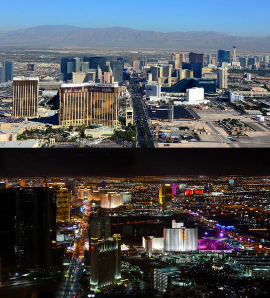Wall Art - Photograph - Las Vegas Night And Day Work A by David Lee Thompson