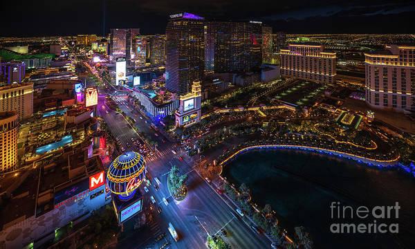 Wall Art - Photograph - Las Vegas Photography Night Strip by Mike Reid