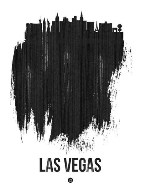 Country Mixed Media - Las Vegas Skyline Brush Stroke Black by Naxart Studio