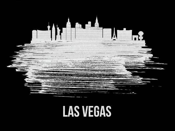 Country Mixed Media - Las Vegas Skyline Brush Stroke Blue by Naxart Studio