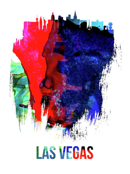 Nevada Wall Art - Mixed Media - Las Vegas Skyline Brush Stroke Watercolor   by Naxart Studio