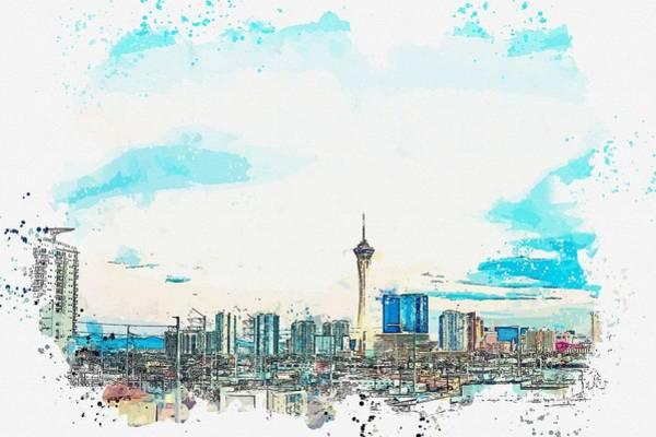 Painting - Las Vegas Skyline, Us Watercolor By Ahmet Asar by Ahmet Asar