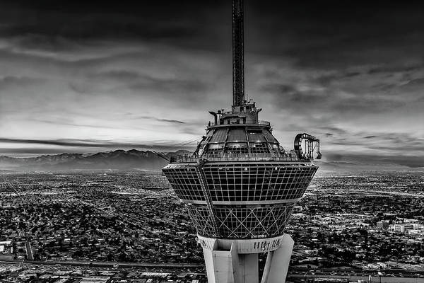 Photograph - Las Vegas Stratosphere Aerial Bw by Susan Candelario