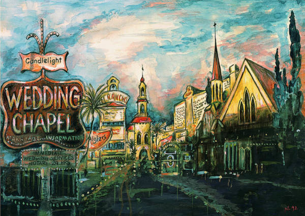 Painting - Las Vegas Strip 2000 - Watercolor Painting by Peter Potter