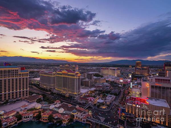 Wall Art - Photograph - Las Vegas Strip Red Skies Sunset by Mike Reid