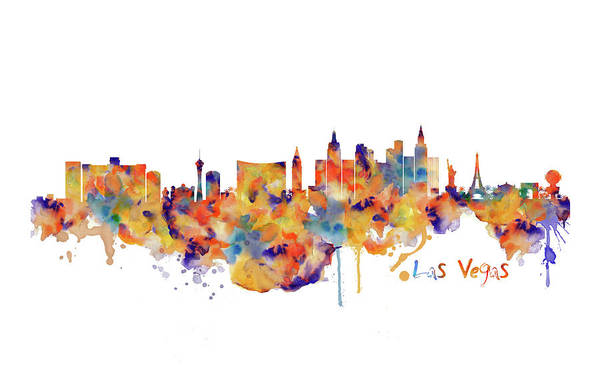 Tall Buildings Painting - Las Vegas Watercolor Skyline by Marian Voicu