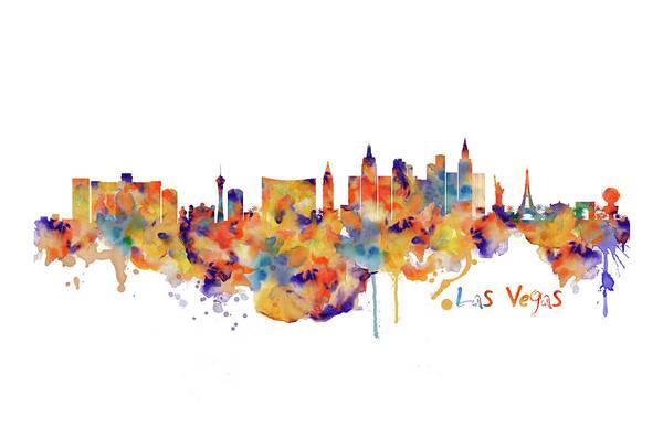 Wall Art - Painting - Las Vegas Watercolor Skyline by Marian Voicu