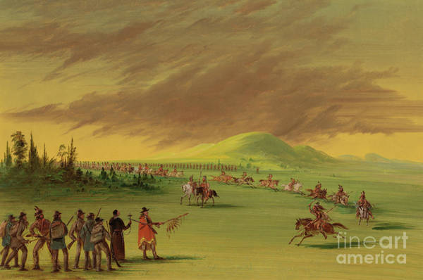 Wall Art - Painting - Lasalle Meets On The Prairie Of Texas, A War Party Of Cenis Indians, April 25th, 1686. by George Catlin
