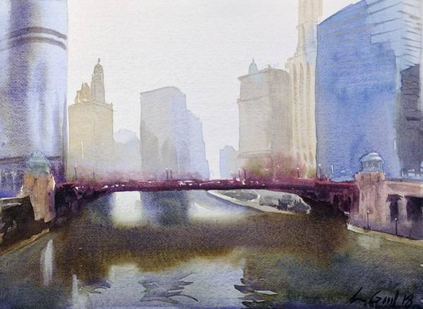 Manhattan Skyline Painting - Lasalle St. Bridge by Max Good
