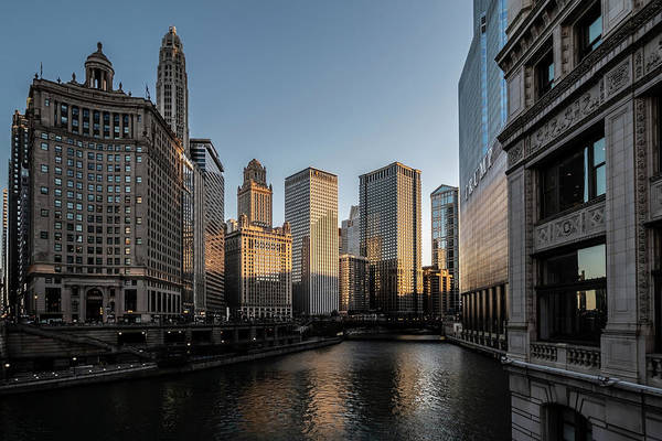 Photograph - Last Bit Of Sun Hitting Chicago Skyscrapers by Sven Brogren