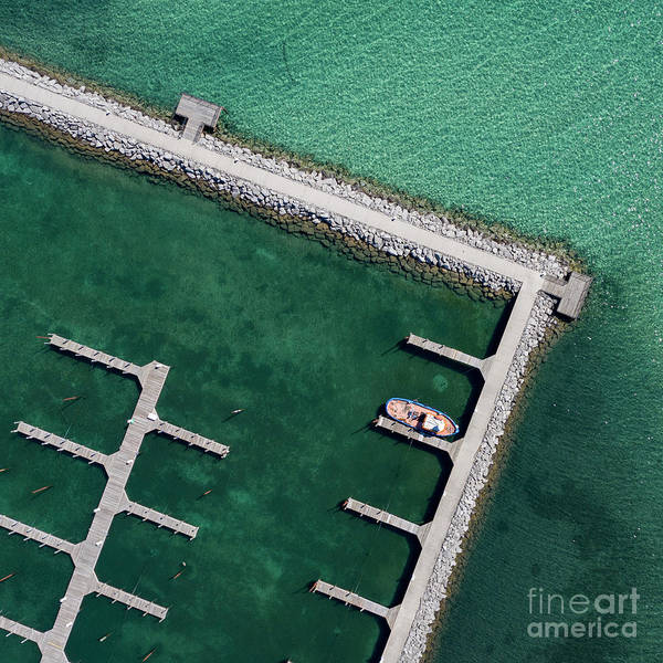 Download Photograph - Last Boat In The Harbor Aerial by Twenty Two North Photography