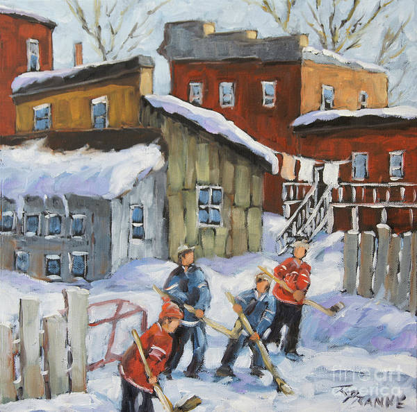 Wall Art - Painting - Last Game Of Hockey  by Richard T Pranke