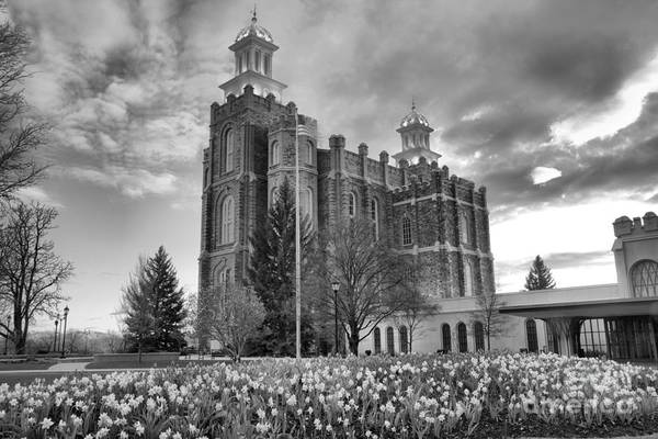 Photograph - Late Afternoon At The Logan Temple Black And White by Adam Jewell