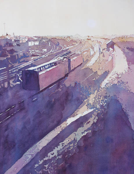 Trains Painting - Late Afternoon Freight by Jenny Armitage
