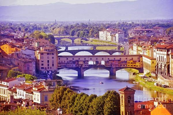 Photograph - Late Afternoon On The Ponte Vecchio by Mary Machare