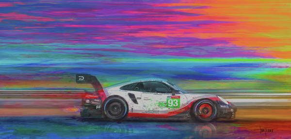 Le Mans Mixed Media - Late Braking by Alan Greene
