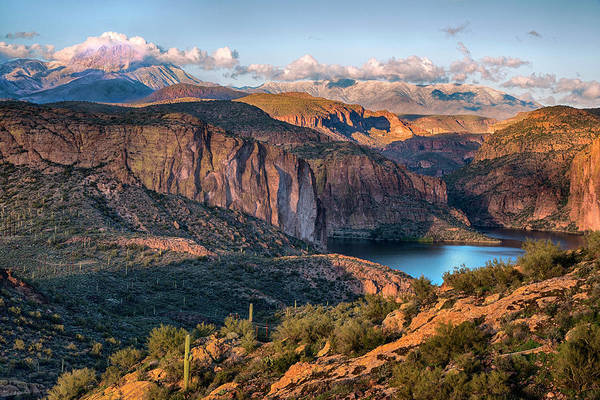 Wall Art - Photograph - Late Light Canyon Lake Four Peaks by Dave Dilli