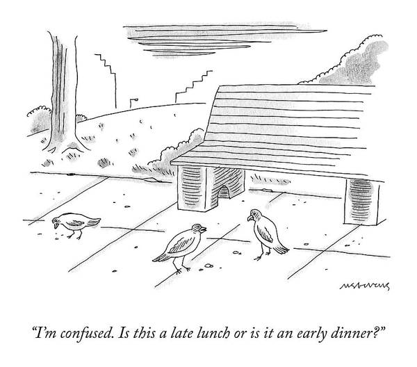 Drawing - Late Lunch Or Early Dinner? by Mick Stevens