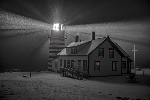 Photograph - Late Night Snow Squall At West Quoddy Head Lighthouse by Marty Saccone