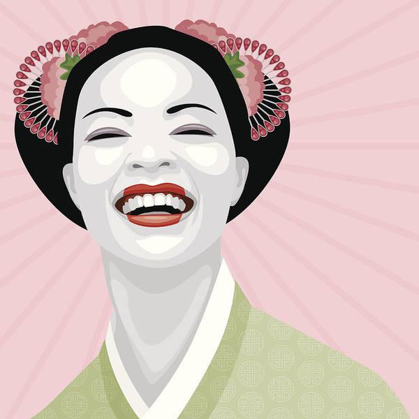 Make Up Digital Art - Laughing Geisha by Bortonia