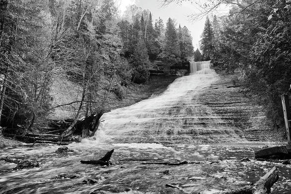 Photograph - Laughing Whitefish Falls Black And White - Michigan by Rick Veldman
