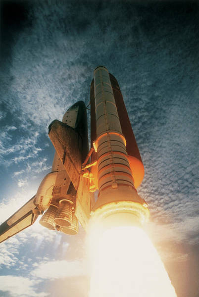 Satellite Image Wall Art - Photograph - Launching Of The Space Shuttle by Stockbyte