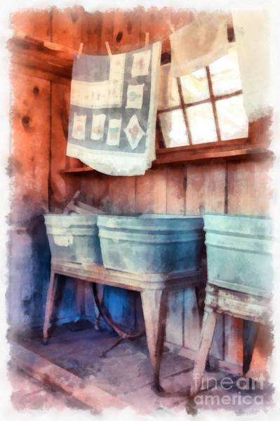 Wall Art - Digital Art - Laundry Day Wash Tubs by Edward Fielding