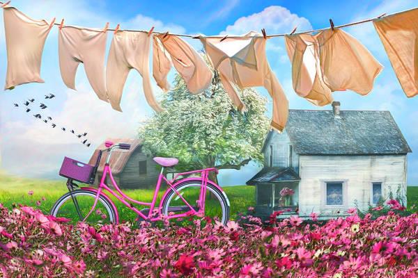 Flowering Trees Digital Art - Laundry Day Watercolors Painting  by Debra and Dave Vanderlaan