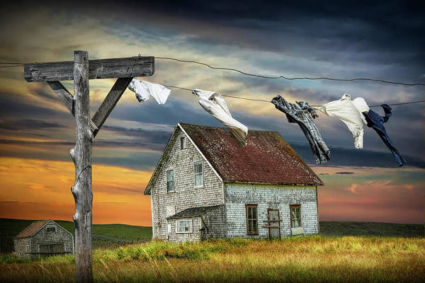 Crumble Photograph - Laundry On The Line By Boarded Up House by Randall Nyhof