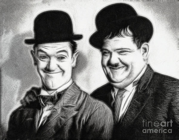 Drawing - Laurel And Hardy  by Doc Braham