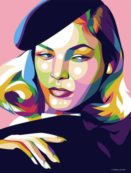Pop Star Digital Art - Lauren Bacall by Stars-on- Art