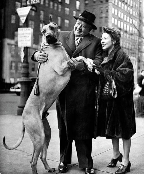 Great Dane Photograph - Lauritz Melchior & Wife by Nina Leen