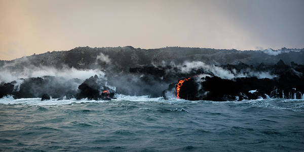 Photograph - Lava Entering The Sea I by William Dickman