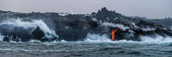 Photograph - Lava Entering The Sea IIi by William Dickman