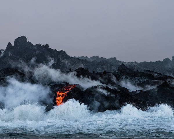 Photograph - Lava Entering The Sea Iv by William Dickman