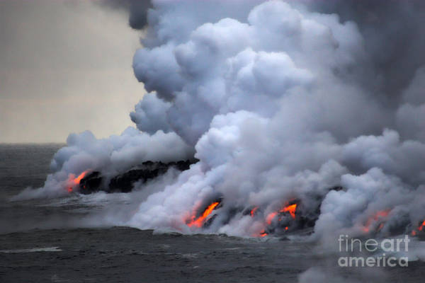 Burning Wall Art - Photograph - Lava Erupting Into Pacific Ocean During by George Burba