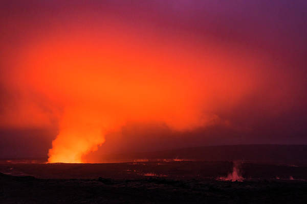 Wall Art - Photograph - Lava Steam Vent Glowing At Night by Russ Bishop