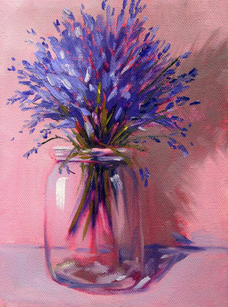 Wall Art - Painting - Lavender Bouquet by Nancy Merkle