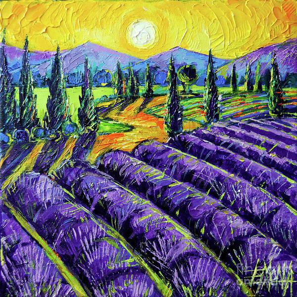Wall Art - Painting - Lavender Field - Provence Mon Amour - Impasto Palette Knife Acrylic Painting Mona Edulesco by Mona Edulesco