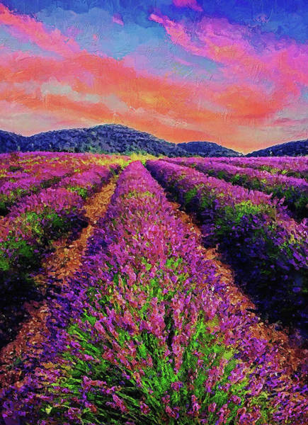 Painting - Lavender Fields - 10 by Andrea Mazzocchetti