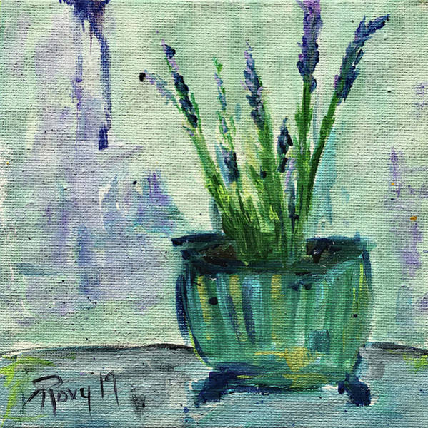 Wall Art - Painting - Lavender Pot by Roxy Rich