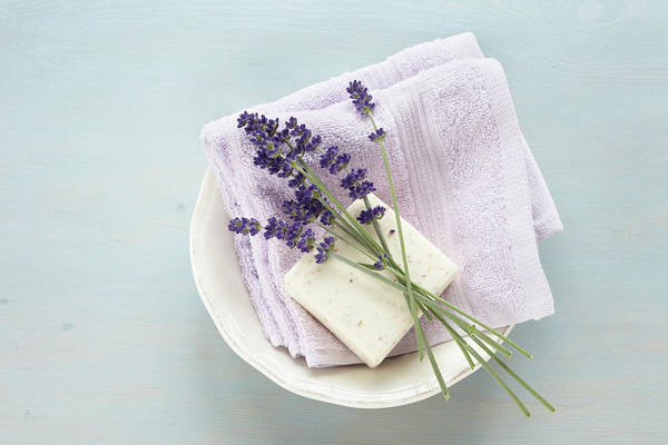 Photograph - Lavender, Soap And Cloth In Bowl by Photo Division