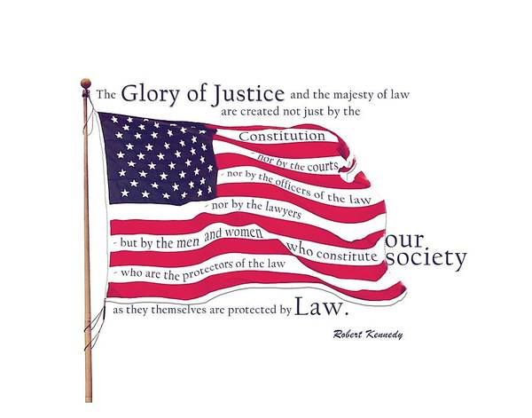 Digital Art - Law And Society American Flag With Robert Kennedy Quote by Lisa Redfern