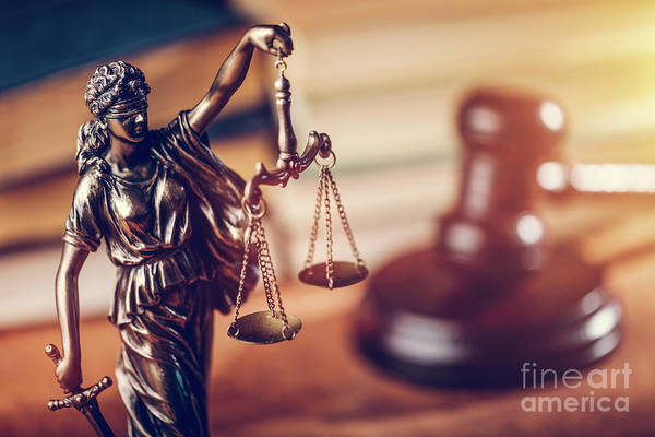 Photograph - Law Concept - Themis Statue, Judge Hammer And Books. by Michal Bednarek