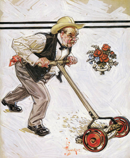 Wall Art - Painting - Lawn Mowing - Digital Remastered Edition by Joseph Christian Leyendecker